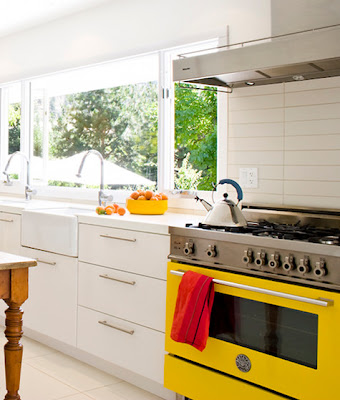 Kitchen Color Schemes with Yellow Oven Pop of Color Appliances Home Decor Interior Designs White Walls Modern Design