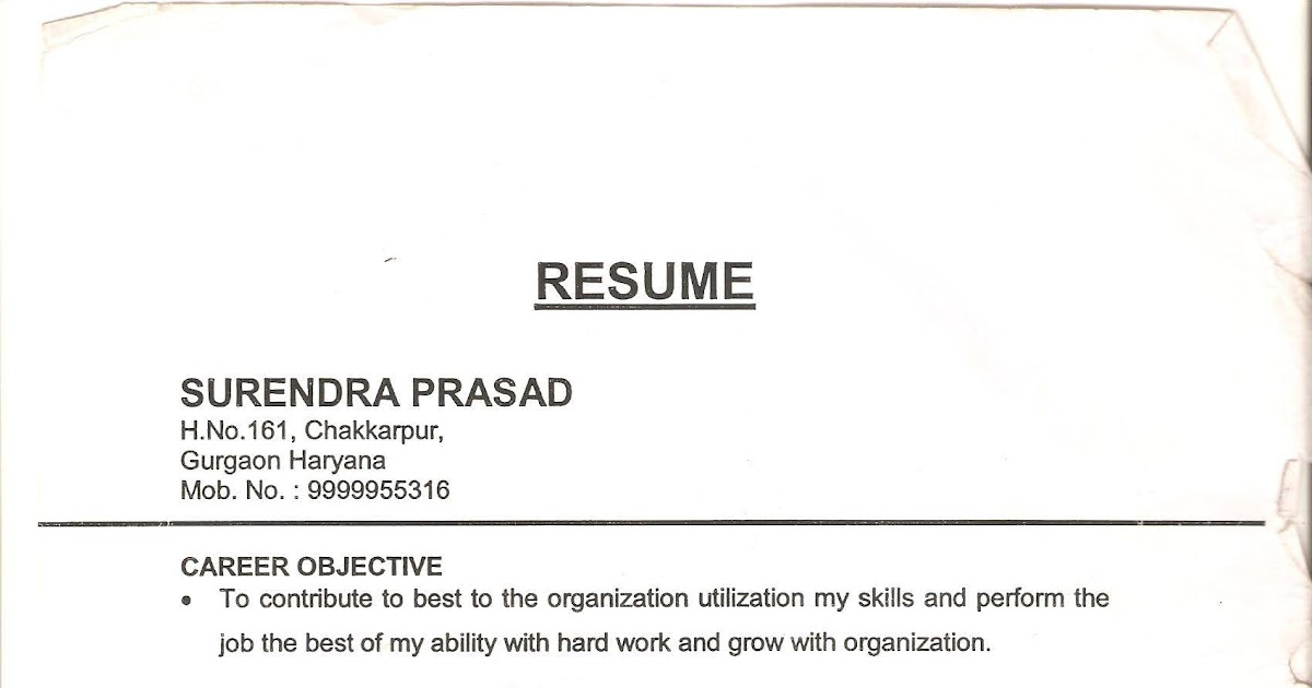 Resume Office Boy Paintry Receptionist Etc Domestic Help In India
