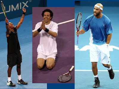 Black Tennis Pro's Gael Monfils,France Younes El Ayanoui, Morocco and James Blake, USA