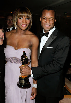 Black Tennis Pro's Serena Williams at 2010 Oscars with Oscar recipient Geoffrey Fletcher