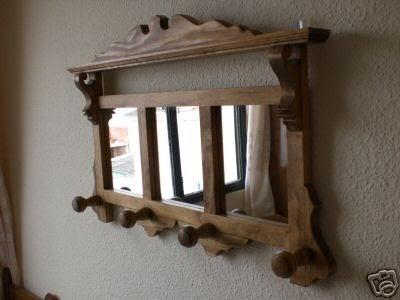 Artesan a r stica en madera gran perchero de madera con for Espejos de bano rusticos de madera