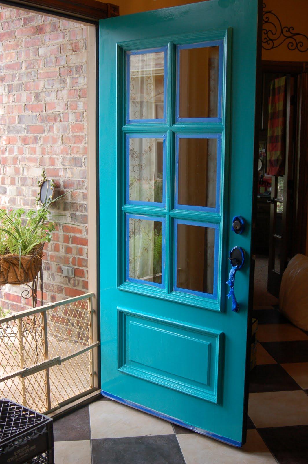 Turquoise front door sonya hamilton designs - Exterior door paint colors ...