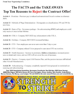 Beech Workers Blog: Top 10 Reasons to Reject the Contract