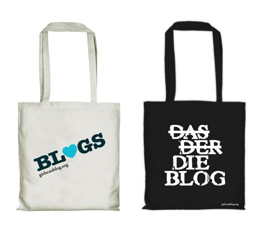 Weiße und Schwarze Stofftasche mit Aufdruck BLOGS bzw. DAS DER (durchgestrichen) DIE BLOG - via girlscanblog