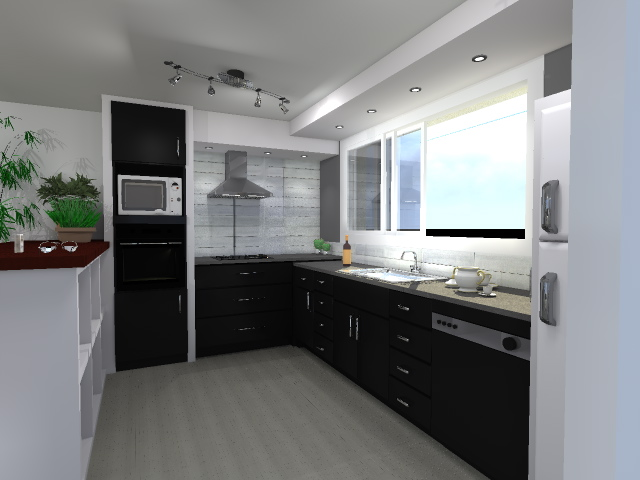 etude et conception 3d modifications ouvertures et am nagement cuisine. Black Bedroom Furniture Sets. Home Design Ideas