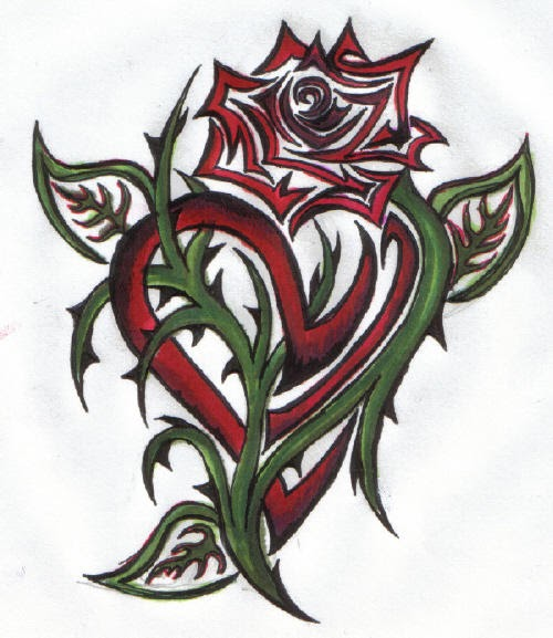 Tattoo Designs Hearts And Roses: Rose Tattoos: Tribal Hearts And Roses