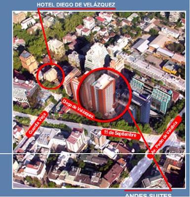 Localização do hotel Diego de Velazquez, em Santiago, no Chile.