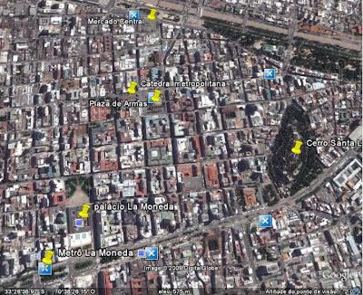 Localização das atrações turísticas do centro de Santiago do Chile.