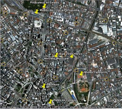 Localização de pontos turísticos no centro de São Paulo.