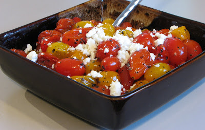 Roasted Grape Tomatoes with Feta Cheese