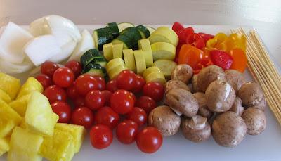Shish Kebobs - Teriyaki Beef, Vegetable, and Lemon Basil Shrimp