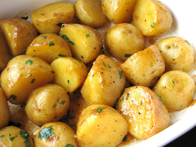 Roasted Baby Potatoes with Soy, Butter and Parsley