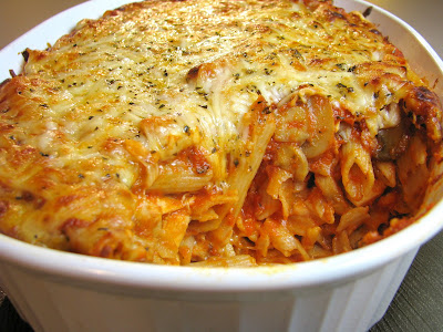 Baked Penne Pasta with Mushroom Marinara and Chicken