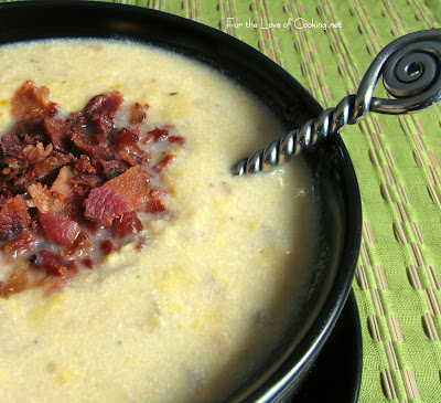 Corn and Fingerling Potato Chowder with Bacon