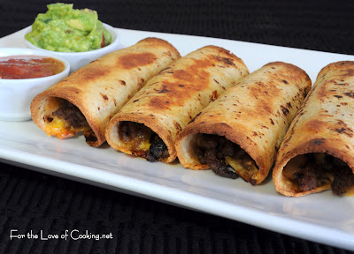 Ground Beef, Black Bean, and Cheddar Cheese Taquitos