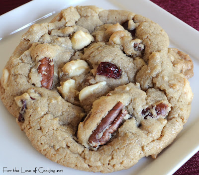 White Chocolate, Pecan, and Craisin Cookies