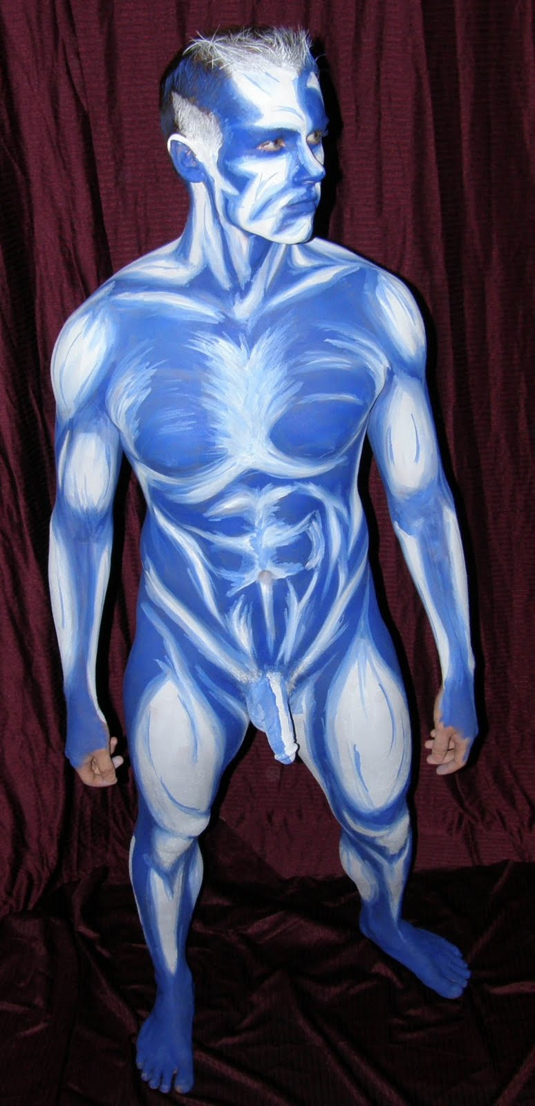 male paint Nude superhero body