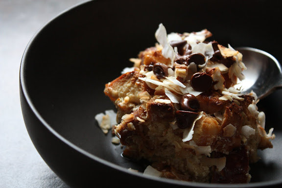 coconut chocolate chip bread pudding