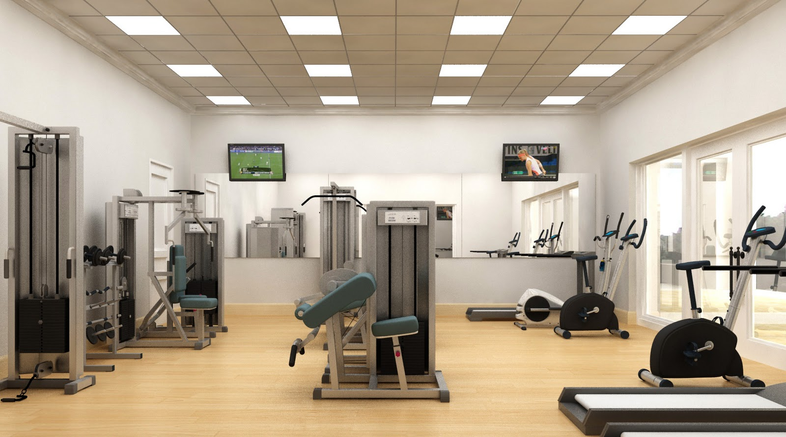 garage boxing gym ideas - 3D rendering Gym & Fitness area