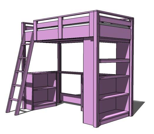 PDF DIY Loft Bed Plans With Desk And Shelves Download loft ...