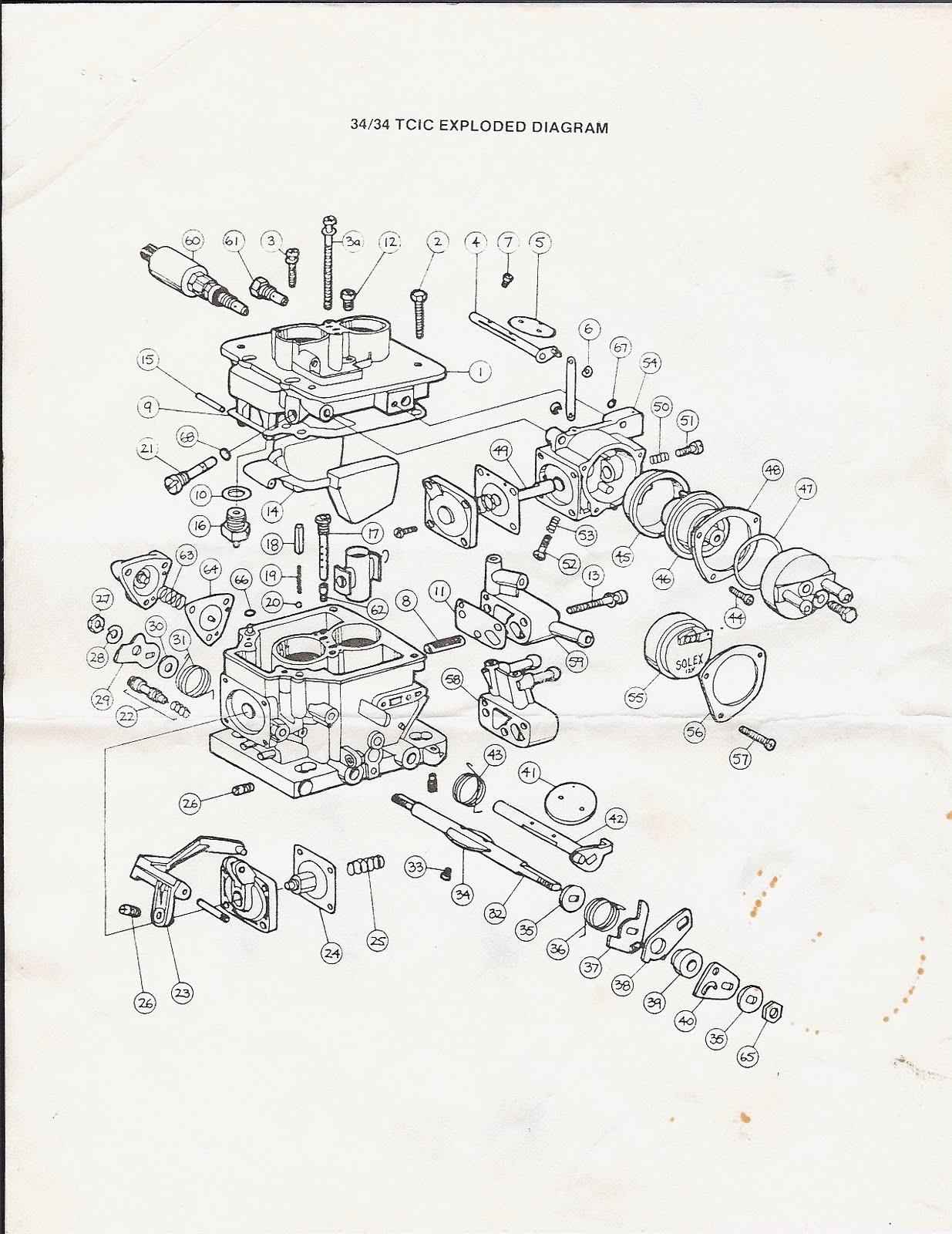 Ajuste de Motor: Despiece Carburador Solex 34-34 TCIC