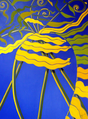 Oil on canvas 30 x 36, oil on canvas, 2005  A study in color vibrations taken from pen and ink study   Private Collection of Sully Grey  Oshawa Ontario. Timeless Expression by Maguire