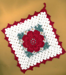Rose Potholder crochet PATTERN INSTRUCTIONS
