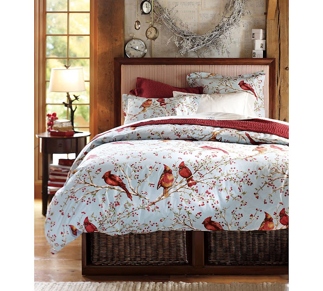 POTTERY BARN CARDINAL FULL/QUEEN DUVET COVER, NEW