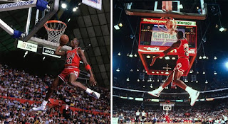 In these two pictures of Michael Jordan in the slam dunk contest are two  models of Air Jordan shoes that he wore that are expected to be in a package  called ... e92bba64f176