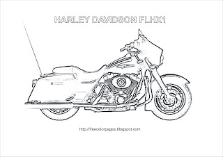 Coloring Pages- Harley Havidson FLHX1 Motorcycle