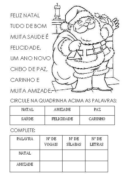 Banco De Atividades Quadrinha Feliz Natal E Atividades Para