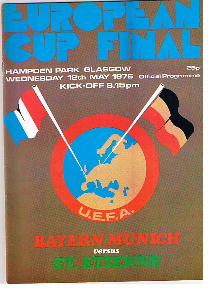 Programmheft zum Europapokalfinale 1976: Mäßige Flaggenkunde, großer Fußball.