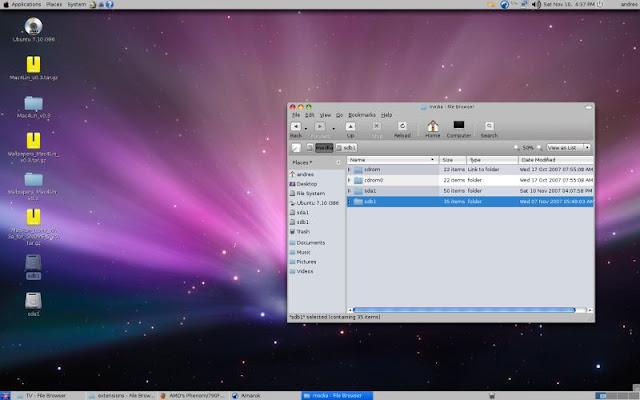 Faccciamo che Ubuntu 7.10 Gutsy Gibbon si somiglie a MacOS X Leopard.