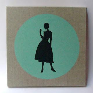 toile peinte acrylique avec silhouette de femme des années 50