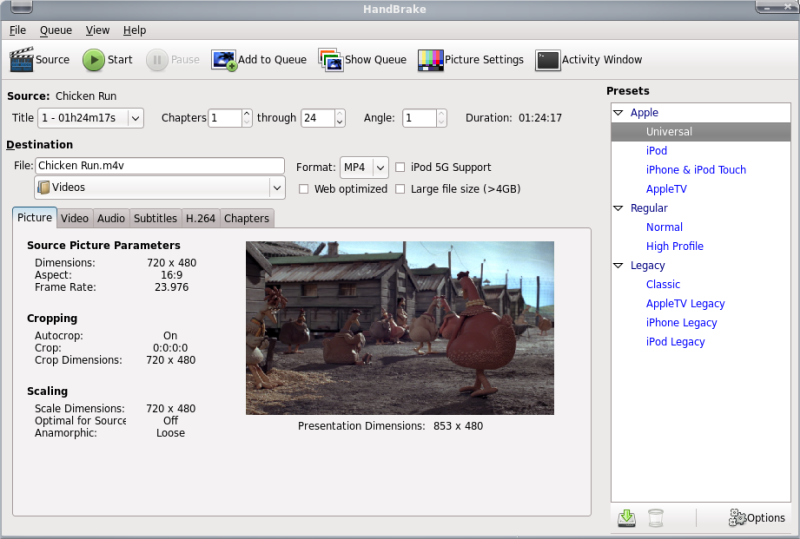 Linux and Microcontroller Tips: Handbrake : Rip DVD to MP4
