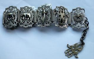 Egyptian elephant bracelet in silver