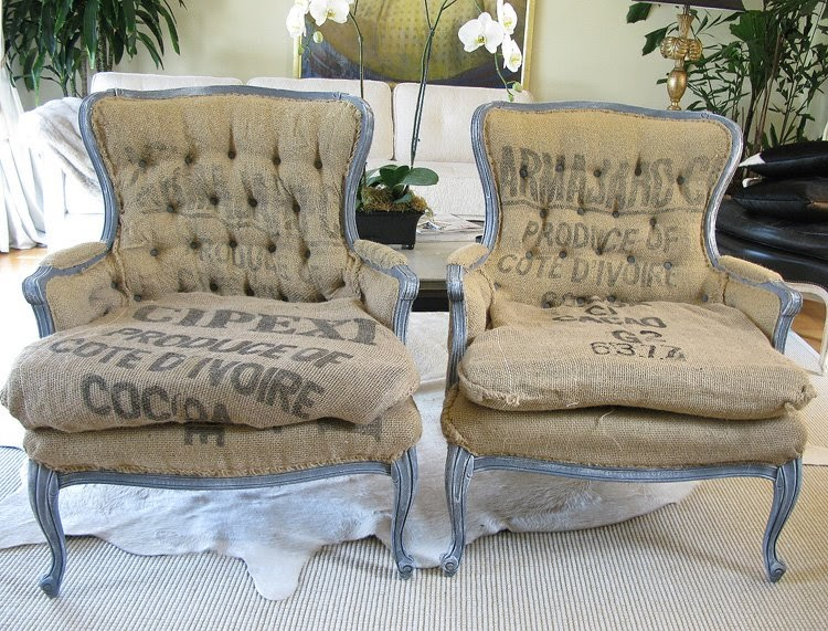 Objects Of Lust Burlap Upholstered French Chairs