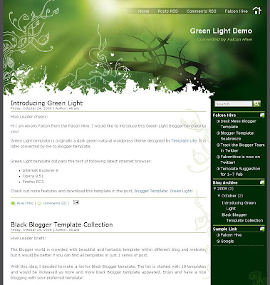 Green Light Blogger Theme