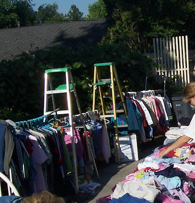 Upstairs Downstairs Idea - $600 Later - Reluctant Entertainer on homemade round clothes rack for garage sale, yard sale, ghetto garage sale, ideas for garage to hang clothes on sale,