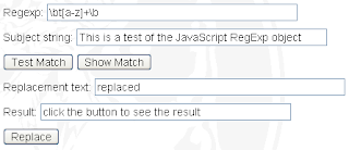 JavaScript Regular Expression Tester