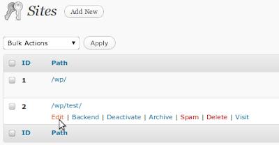 Site Actions MultiSite WordPress 3.0
