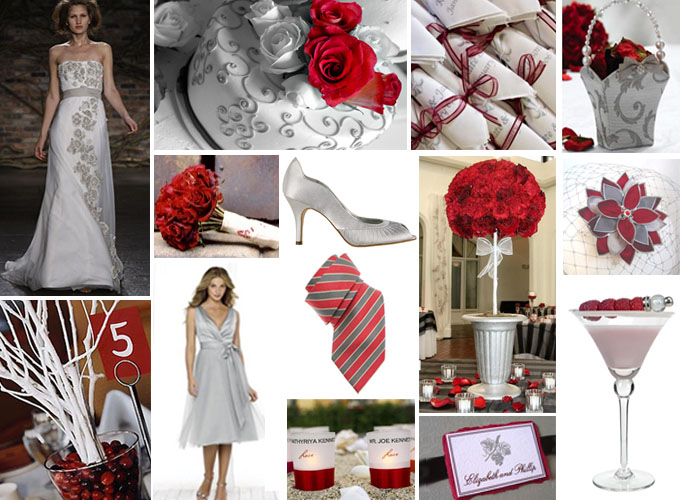 White And Silver Wedding Theme: Wedding Ideas: Gray And Red Wedding