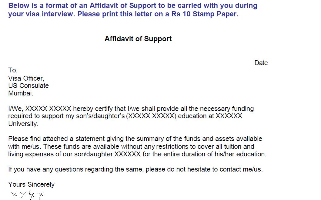 Affidavit Of Support Sample Affidavit Of Support 8 Examples In Pdf