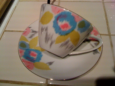 ikat, teacup, thrifting, vintage, fine china