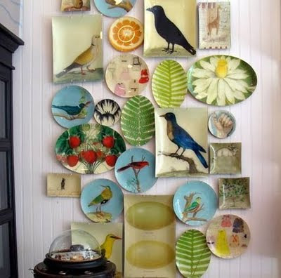Colorful Plate Wall With Overling Plates Another Display Via Bhg