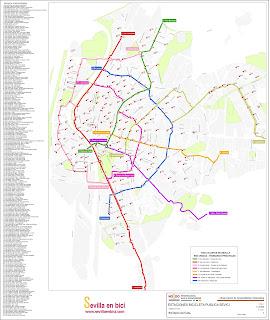 Carril Bici Sevilla Mapa.Antiguo Blog De Carriles Bici Sevilla Mapa Actualizado De Las 250 Estaciones De Sevici