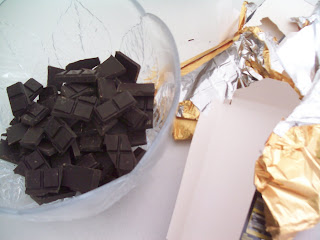 chocolate in bowl with margarine
