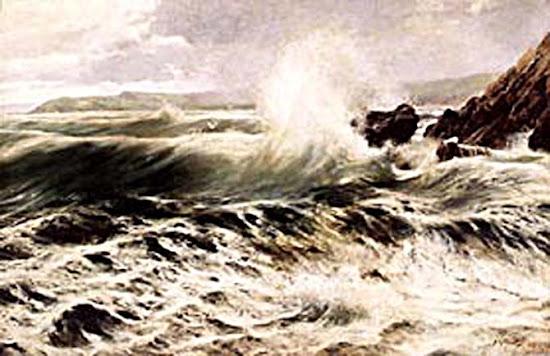 La ola, Juan Martínez Abades, Pintor español, Paisajes de Juan Martínez Abades, Pintor Martínez Abades, Pintores españoles, Pintores Asturianos, Martínez Abades