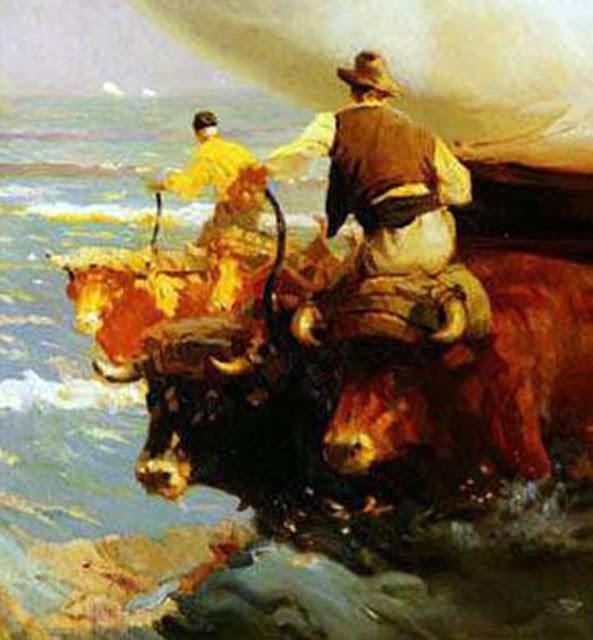 Bueyes en la mar, Enrique Martínez Cubells, Pintor español, Pintores españoles, Martínez Cubells, Paisajes de Enrique Martínez Cubells, Pintores Valencianos