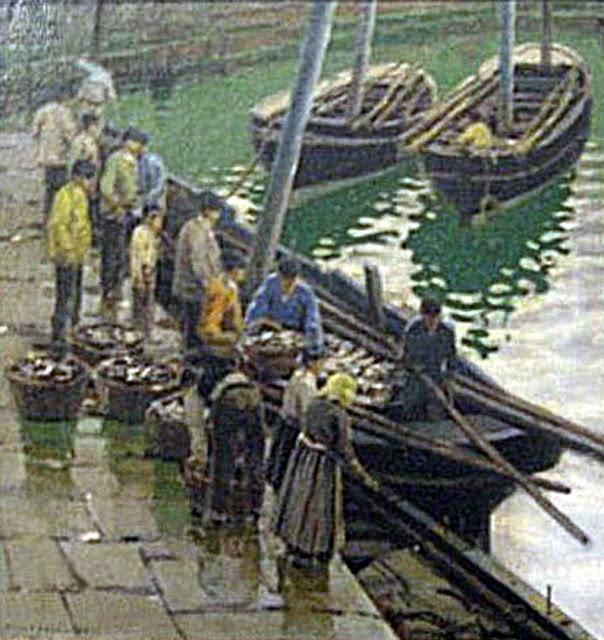 Descargando en el puerto, Enrique Martínez Cubells, Pintor español, Pintores españoles, Martínez Cubells, Paisajes de Enrique Martínez Cubells, Pintores Valencianos